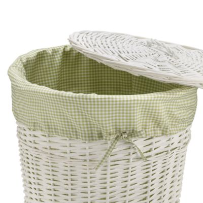 Redmon Collection Round Willow Hamper Gingham Liner in Sage
