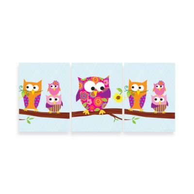 Owls on Branch Wall Hanging (Set of 3)