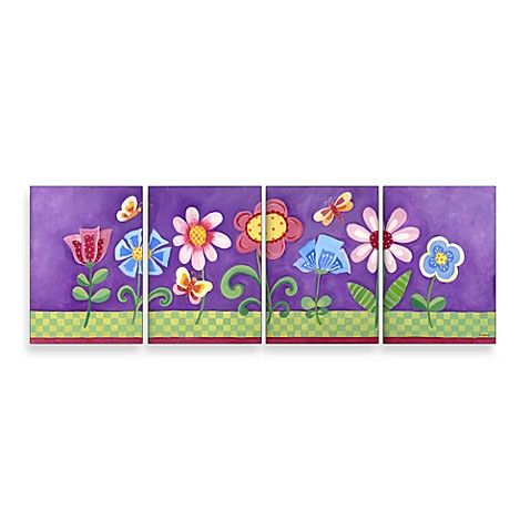 Purple Floral Wall Hanging (Set of 4)