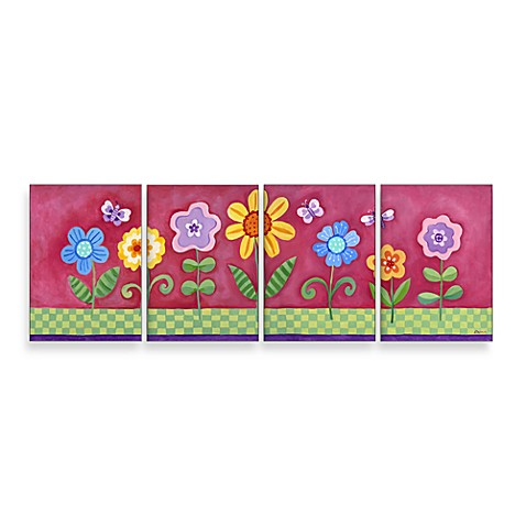 Wall Hanging in Pink Floral (Set of 4)