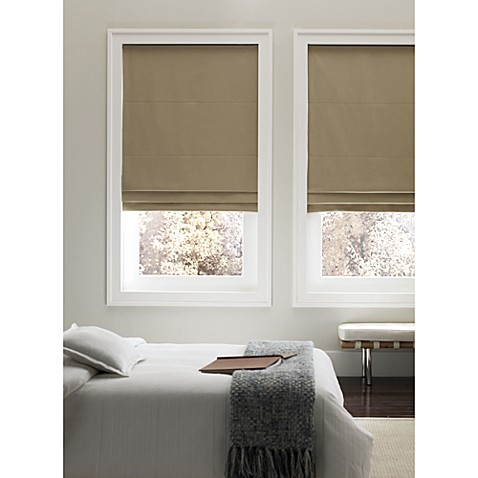 Real Simple 174 Cordless 35 Inch Fabric Roman Shade In Taupe