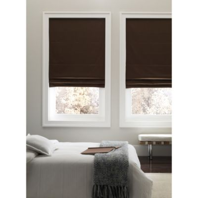 Real Simple® Cordless 29-Inch Fabric Roman Shade in Chocolate