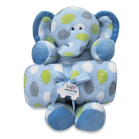 AD Sutton Plush Elephant with Blanket in Blue