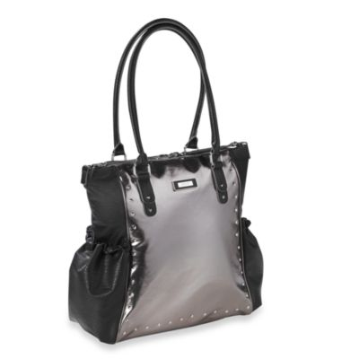 Kenneth Cole Reaction® Brook Street Tote Diaper Bag in Pewter Metallic w/ Black Washed Lamb