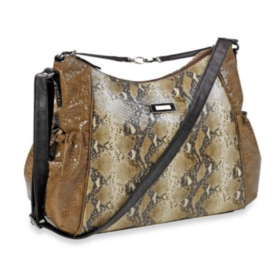 Kenneth Cole Reaction® Magnolia Street Hobo Diaper Bag in Taupe Croc w/ Snake & Chocolate Trim
