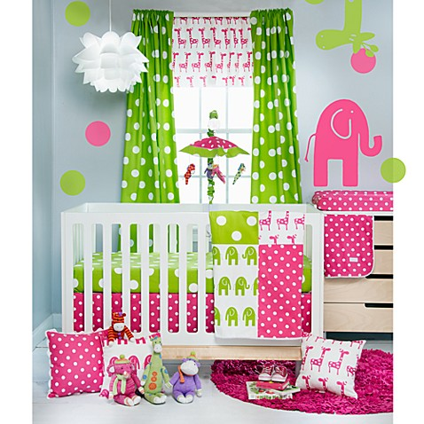 Glenna Jean Ellie & Stretch Crib Bedding Collection in Pink/Green