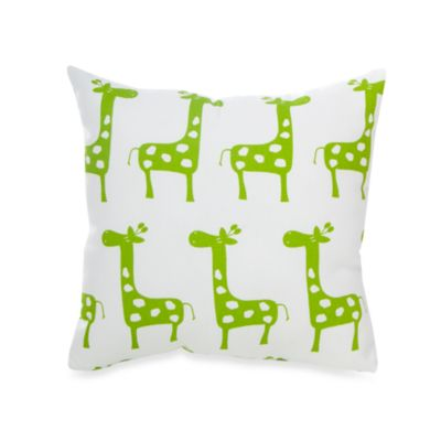 Glenna Jean Ellie & Stretch Giraffe Square Throw Pillow in Green
