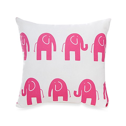Glenna Jean Ellie & Stretch Elephant Square Throw Pillow in Pink