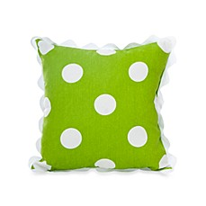 Glenna Jean Ellie & Stretch Square Dot Throw Pillow with Rick Rack in Green