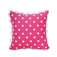 Glenna Jean Ellie & Stretch Square Dot Throw Pillow with Rick Rack in Pink