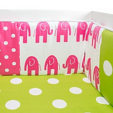 Glenna Jean Ellie & Stretch Crib Bumper in Pink/Green