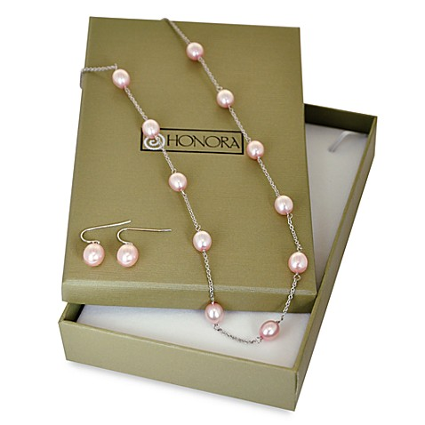 Honora Pink Freshwater Cultured Pearl Tin Cup Necklace and Drop Earrings Set (7.5-8MM Oval)