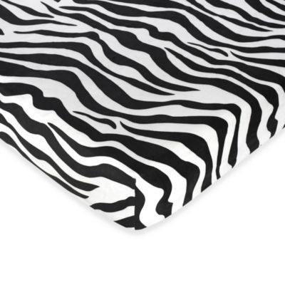 Sweet Jojo Designs Funky Zebra Microsuede Fitted Crib Sheet in Black/White