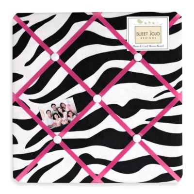 Sweet Jojo Designs Funky Zebra Fabric Memo Board in Pink