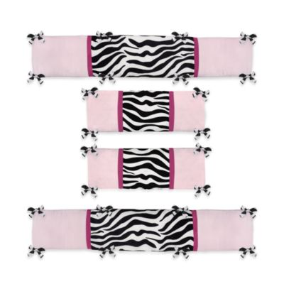 Sweet Jojo Designs Funky Zebra 4-Piece Crib Bumper Set in Pink