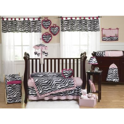 Sweet Jojo Designs Funky Zebra 9-Piece Crib Bedding Set in Pink