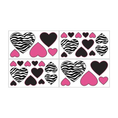 Sweet Jojo Designs Funky Zebra Wall Decals in Pink