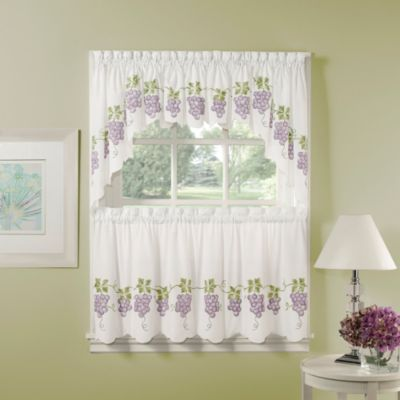 Air Brushed Grapes 24-Inch Window Curtain Tier Pair