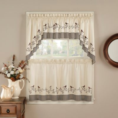 Birds 24-Inch Window Curtain Tier Pair