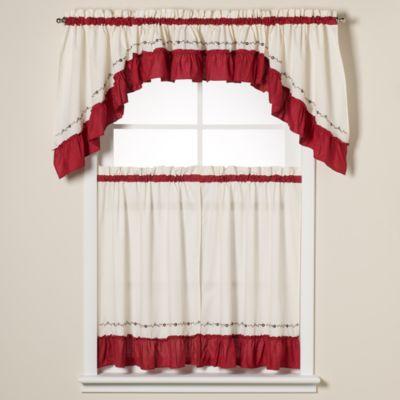 Jayden Window Curtain Swag Valance in Red
