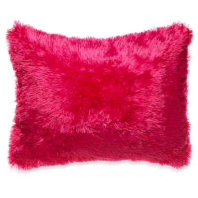 Long Hair Faux Fur Toss Pillow in Pink