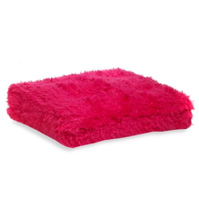 Faux Fur Floor Cushion in Pink