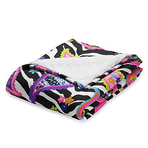 Rock Your Room Microfiber/Sherpa Reversible Throw in Paisley