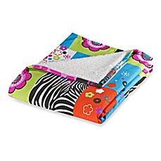 Rock Your Room Microfiber/Sherpa Reversible Throw in Patchwork Love
