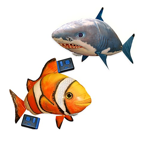 Air swimmers remote control inflatable fish bed bath for Remote control air swimming fish
