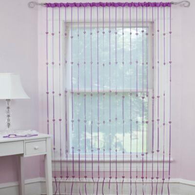 Heartbeat Jewelry Rod Pocket Window Curtain Panel in Purple