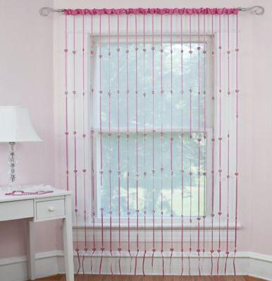 Heartbeat Jewelry Rod Pocket Window Curtain Panel in Pink