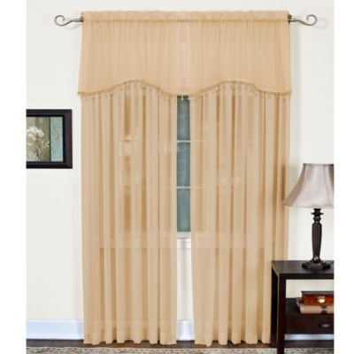 Mystic Sheer Rod Pocket Window Valance in Ivory
