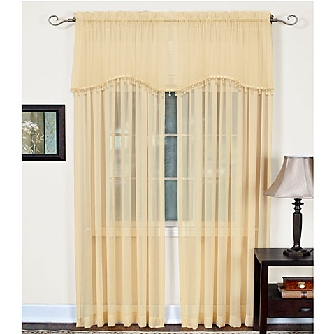 Mystic Sheer Rod Pocket Window Valance in Gold