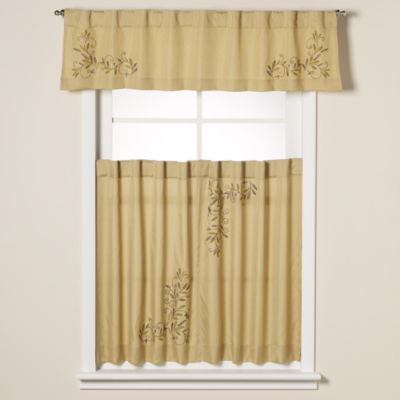 Scroll Leaf Window Curtain Valance in Ivory