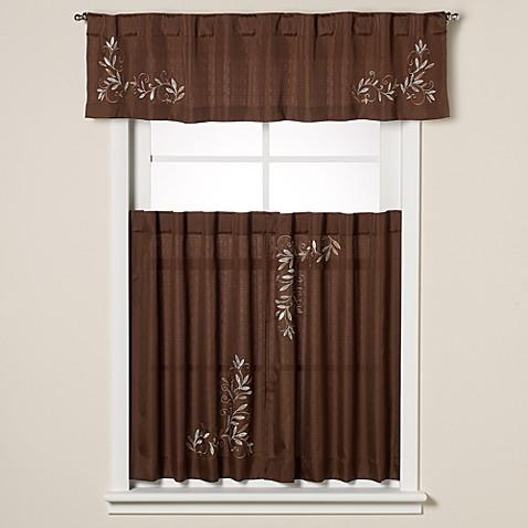 Buy Scroll Leaf 36 Inch Window Curtain Tier Pair In Mocha From Bed Bath Beyond
