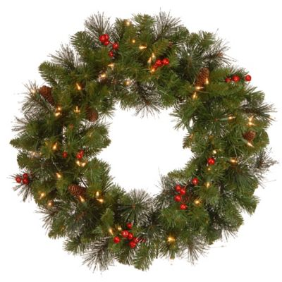 National Tree Crestwood Spruce 24-Inch Pre-Lit Wreath