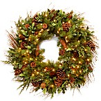 Decorative Collection 30-Inch Juniper Mix Pine Wreath Pre-Lit with 100 Clear Lights