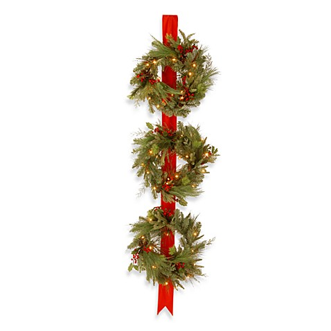 National Tree Decorative Collection 18-Inch Pre-Lit Triple Wreath Door Hang