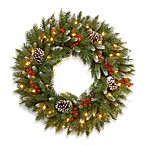 Frosted Berry 30-Inch Wreath Pre-Lit with 100 Clear Lights