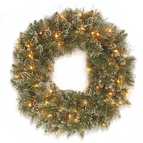 National Tree 2-Foot 6-Inch Glittery Bristle Pine Pre-Lit Wreath with Clear Lights