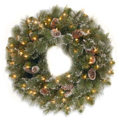 National Tree Glittery Pine 24-Inch Wreath Pre-lit with 50 Clear Lights