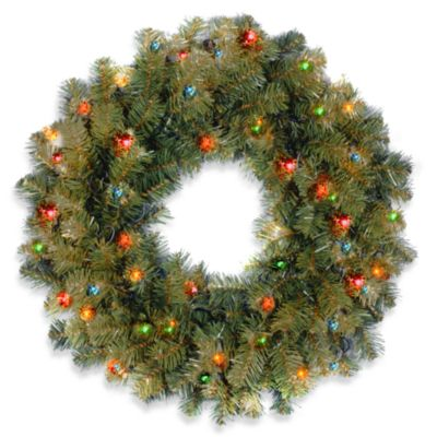 Kincaid Spruce 2-Foot Wreath Pre-Lit with 50 Multicolored Lights