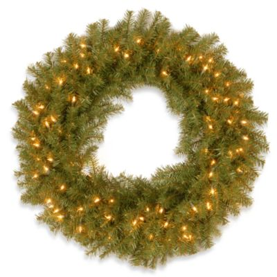 National Tree 2-Foot 6-Inch Norwood Fir Pre-Lit Wreath with Clear Lights