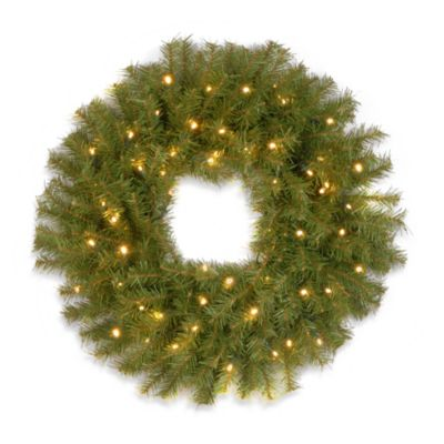 National Tree 2-Foot Norwood Fir Pre-Lit Wreath with White LED Lights