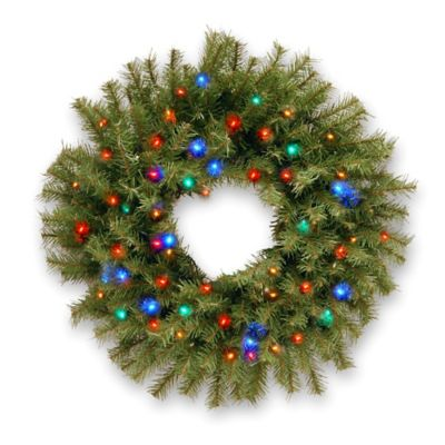 National Tree Norwood Fir 2-Foot Wreath Pre-Lit with 50 Multicolored Lights and Timer