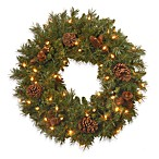 2-Foot Pine Cone Wreath Pre-Lit with 50 Clear Lights