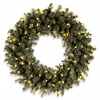 2-Foot Feel-Real® Downswept Douglas Blue Fir Wreath Pre-Lit with 50 Clear Lights