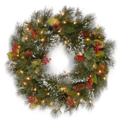 24-Inch Wintry Pine Wreath Pre-Lit with 50 Clear Lights