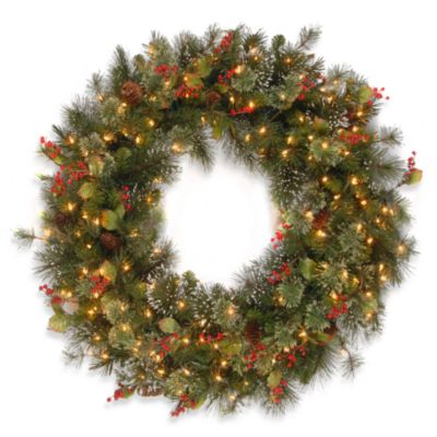 3-Foot Wintry Pine Wreath with Cones, Red Berries, Snowflakes and Pre-Lit with 150 Clear Lights