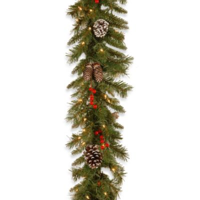 National Tree 9-Foot x 10-Inch Frosted Berry Garland Pre-Lit with 100 Clear Lights